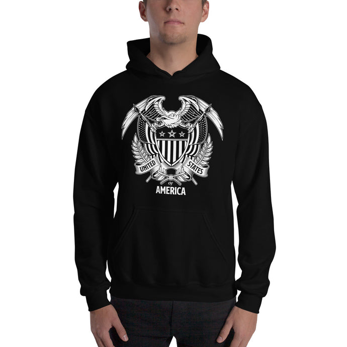 United States Of America Eagle Illustration Reverse Hooded Sweatshirt