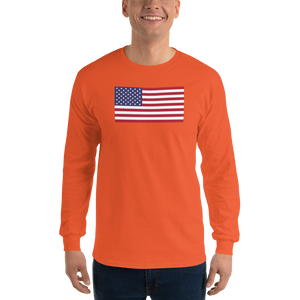 "Orange / S United States Flag ""Solo"" Long Sleeve T-Shirt by Design Express"