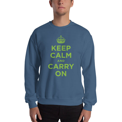 Indigo Blue / S Keep Calm and Carry On (Green) Unisex Sweatshirt by Design Express