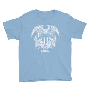 Light Blue / XS United States Of America Eagle Illustration Reverse Youth Short Sleeve T-Shirt by Design Express