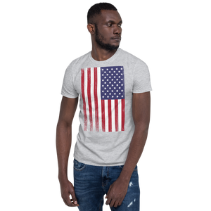 Sport Grey / S US Flag Distressed Short-Sleeve Unisex T-Shirt by Design Express