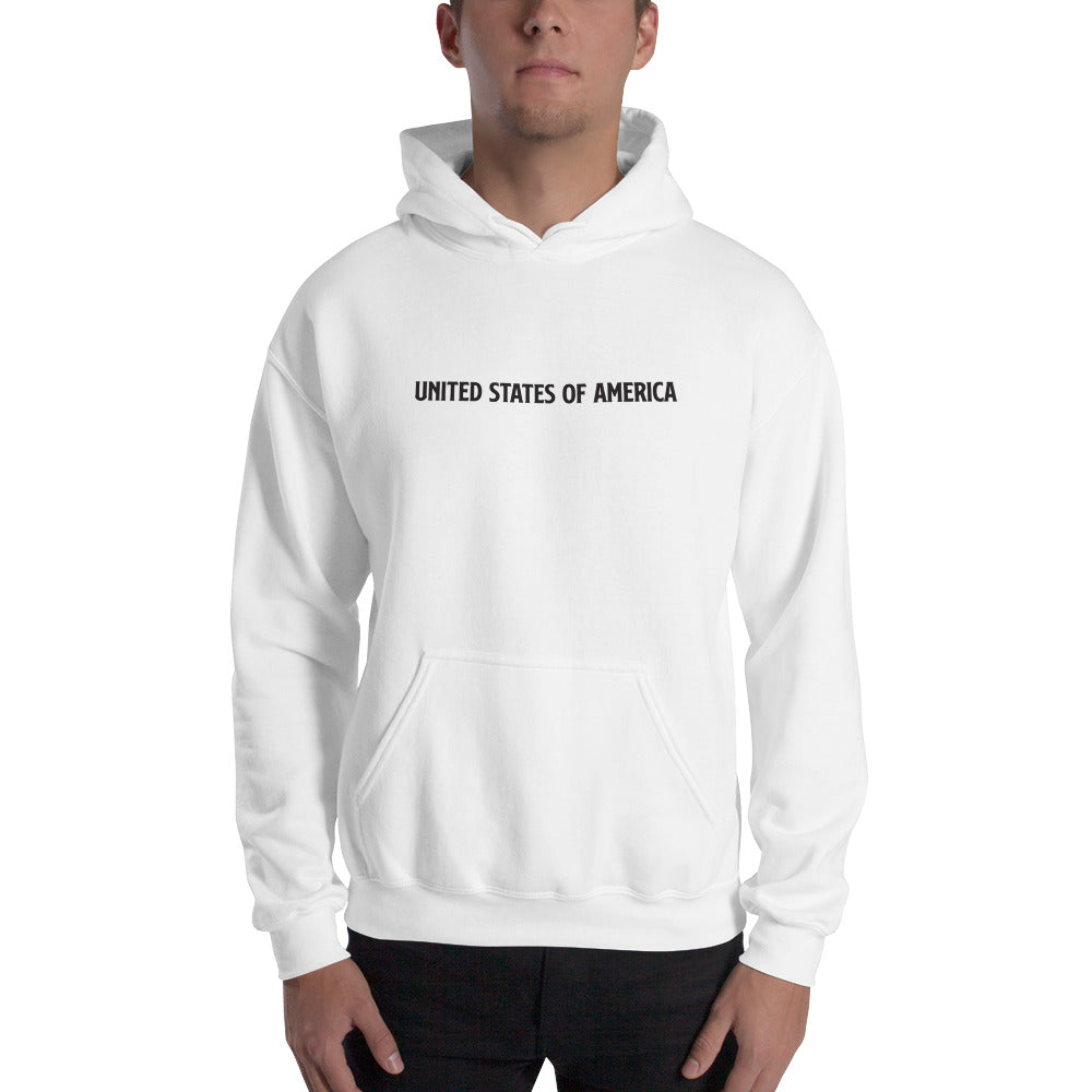 White / S United States Of America Eagle Illustration Backside Hooded Sweatshirt by Design Express