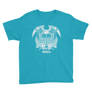 Caribbean Blue / XS United States Of America Eagle Illustration Reverse Youth Short Sleeve T-Shirt by Design Express