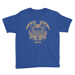 Royal Blue / XS United States Of America Eagle Illustration Gold Reverse Youth Short Sleeve T-Shirt by Design Express