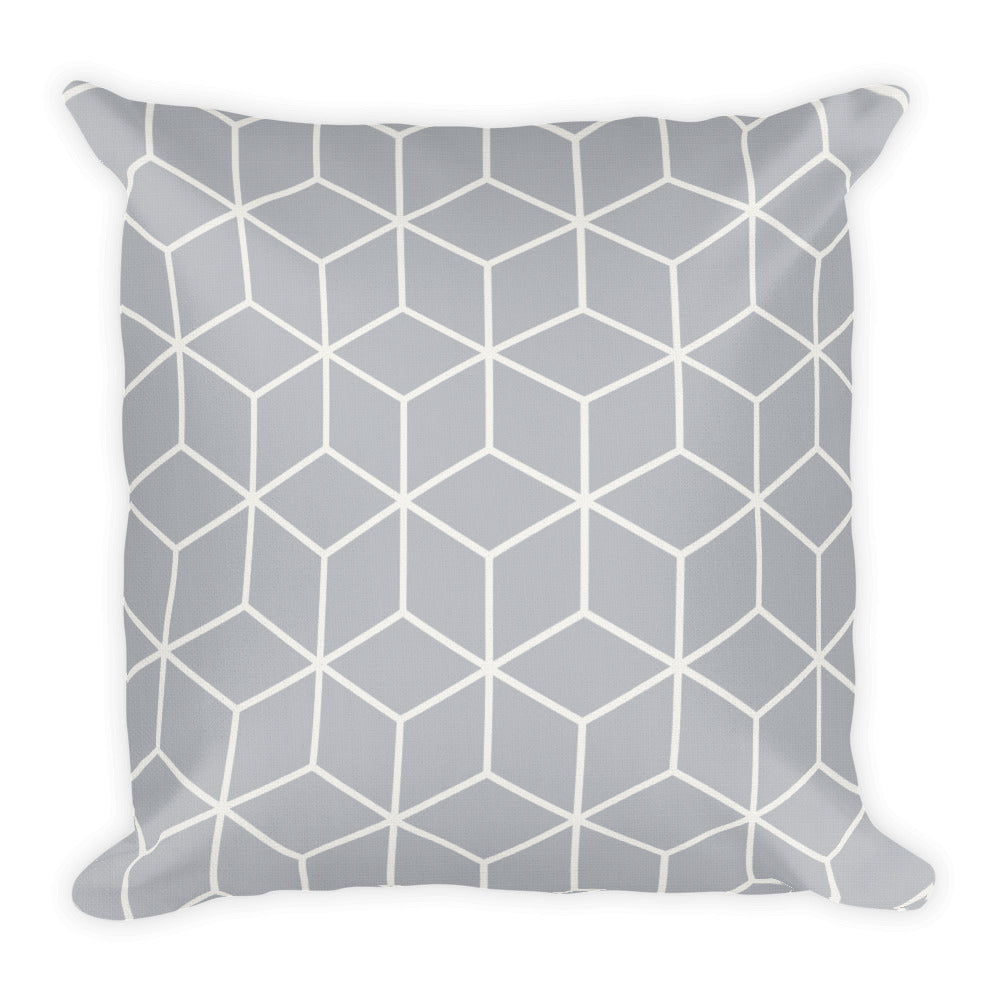 Diamonds Silver White Square Premium Pillow