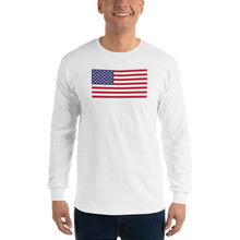 "White / S United States Flag ""Solo"" Long Sleeve T-Shirt by Design Express"