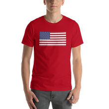 "Red / S United States Flag ""Solo"" Short-Sleeve Unisex T-Shirt by Design Express"