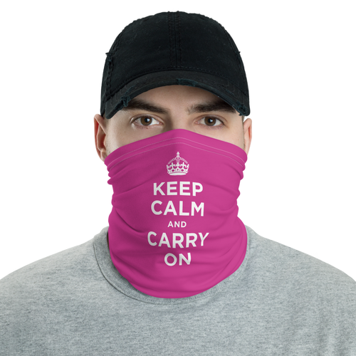 Default Title Magenta Keep Calm & Carry On Neck Gaiter Masks by Design Express