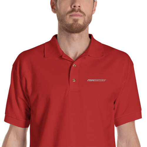 Red / S Fish Key West Embroidered Polo Shirt by Design Express