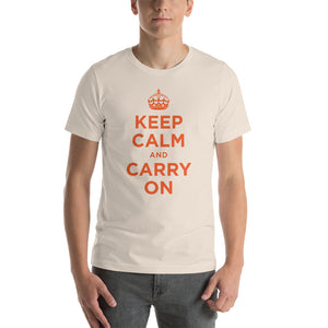 Soft Cream / S Keep Calm and Carry On (Orange) Short-Sleeve Unisex T-Shirt by Design Express