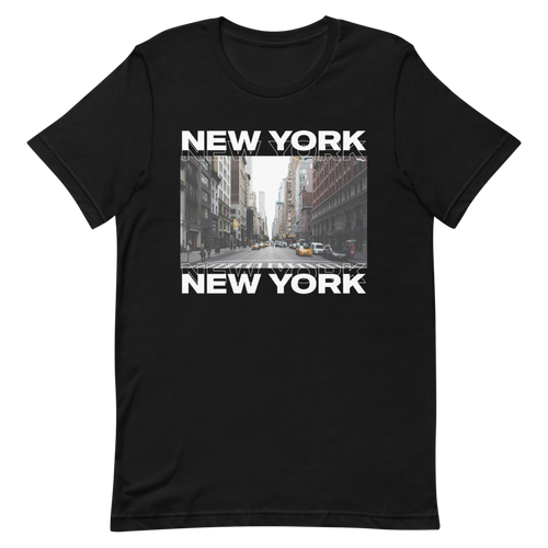 XS New York Front Unisex Black T-Shirt by Design Express