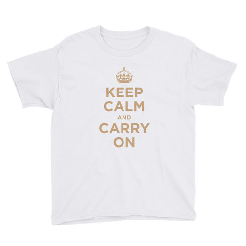 White / XS Keep Calm and Carry On (Gold) Youth Short Sleeve T-Shirt by Design Express