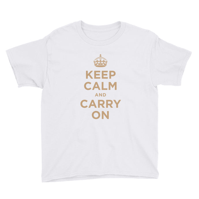 Keep Calm and Carry On (Gold) Youth Short Sleeve T-Shirt