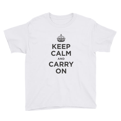 White / XS Keep Calm and Carry On (Black) Youth Short Sleeve T-Shirt by Design Express