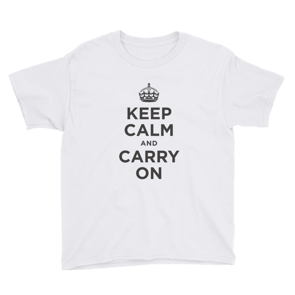 Keep Calm and Carry On (Black) Youth Short Sleeve T-Shirt