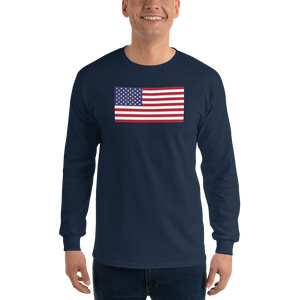 "Navy / S United States Flag ""Solo"" Long Sleeve T-Shirt by Design Express"