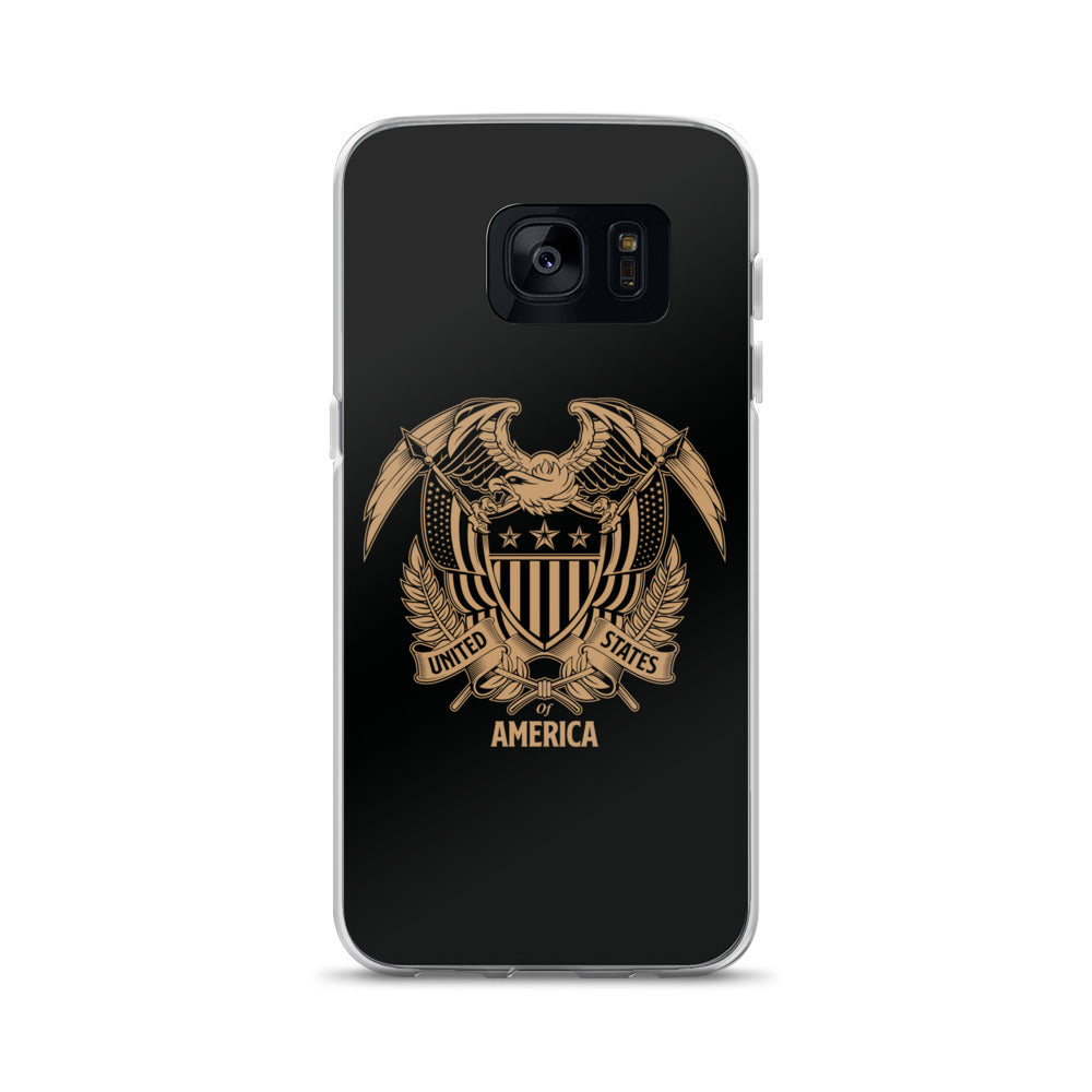 Samsung Galaxy S7 United States Of America Eagle Illustration Reverse Gold Samsung Case Samsung Cases by Design Express