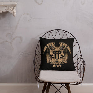 United States Of America Eagle Illustration Reverse Gold Premium Pillow by Design Express