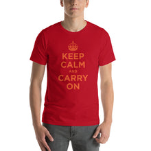 Red / S Keep Calm and Carry On (Orange) Short-Sleeve Unisex T-Shirt by Design Express