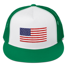 "Kelly/ White/ Kelly United States Flag ""Solo"" Trucker Cap by Design Express"