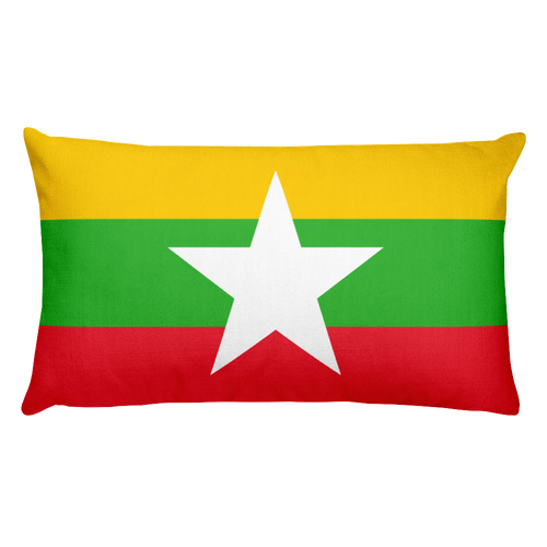 Default Title Myanmar Flag Allover Print Rectangular Pillow Home by Design Express
