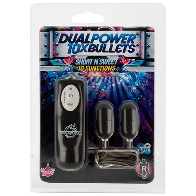 10X Dual Power Bullets - Short n' Sweet - Black - Godfather Adult Sex and Pleasure Toys