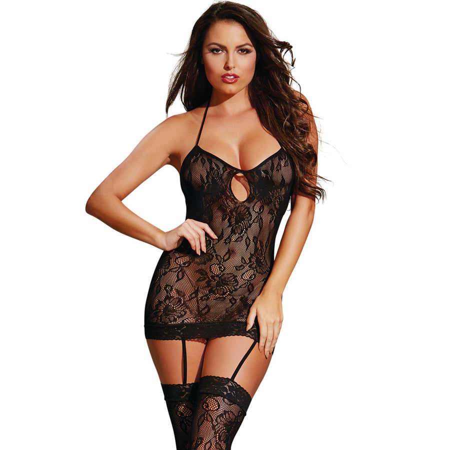 Lace Halter-Top Garter Dress-Black