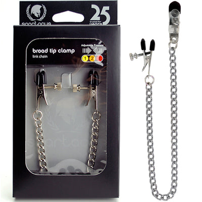 Spartacus Broad-Tip Clamp With Link Chain - Silver - Godfather Adult Sex and Pleasure Toys