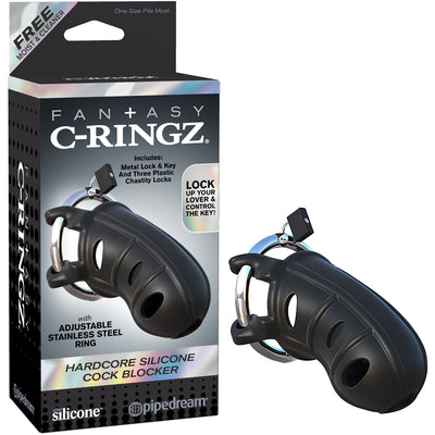 Fantasy C-Ringz Hardcore Silicone Cock Blocker Black - Godfather Adult Sex and Pleasure Toys
