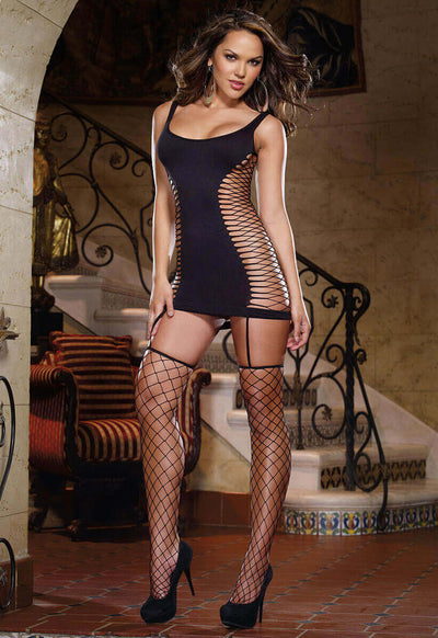 Opaque and Fence Net Garter Dress - Godfather Adult Sex and Pleasure Toys