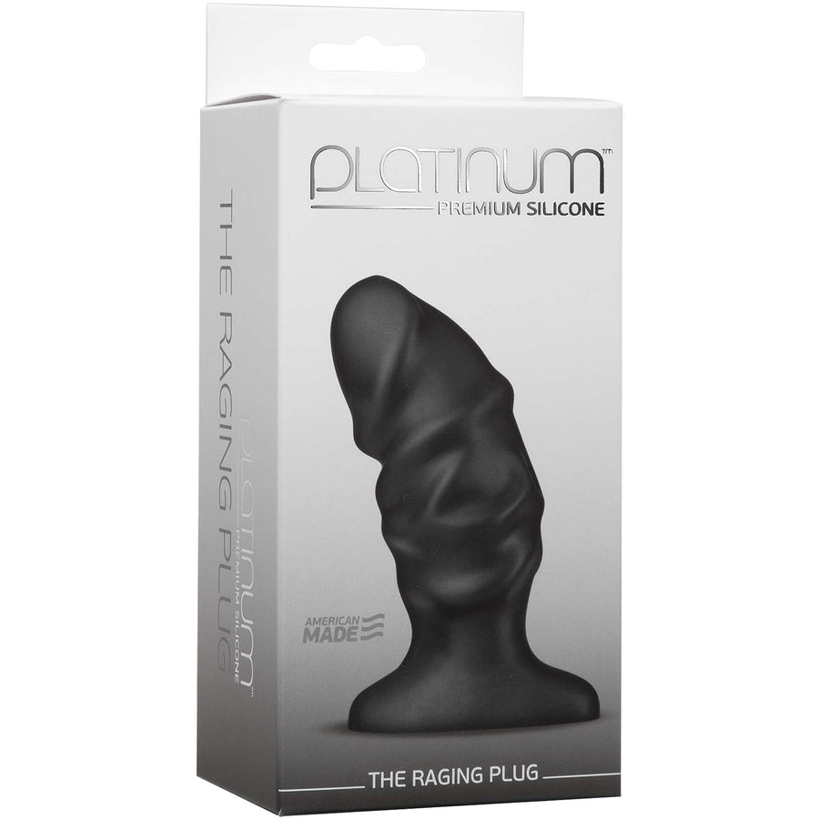 Platinum Premium Silicone - The Raging Plug - Black - Godfather Adult Sex and Pleasure Toys