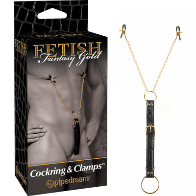 Fetish Fantasy Gold Cockring & Nipple Clamps - Godfather Adult Sex and Pleasure Toys