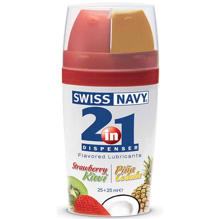 Swiss Navy 2-in-1 Lube Strawberry-Kiwi & Pina Colada .85oz - Godfather Adult Sex and Pleasure Toys