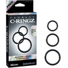 Fantasy C-Ringz Silicone 3-Ring Stamina Set Black - Godfather Adult Sex and Pleasure Toys