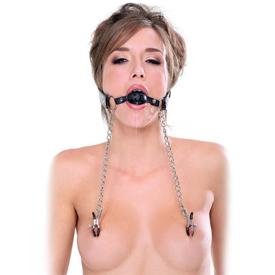 Fetish Fantasy Extreme Deluxe Ball Gag and Nipple Clamps - Godfather Adult Sex and Pleasure Toys