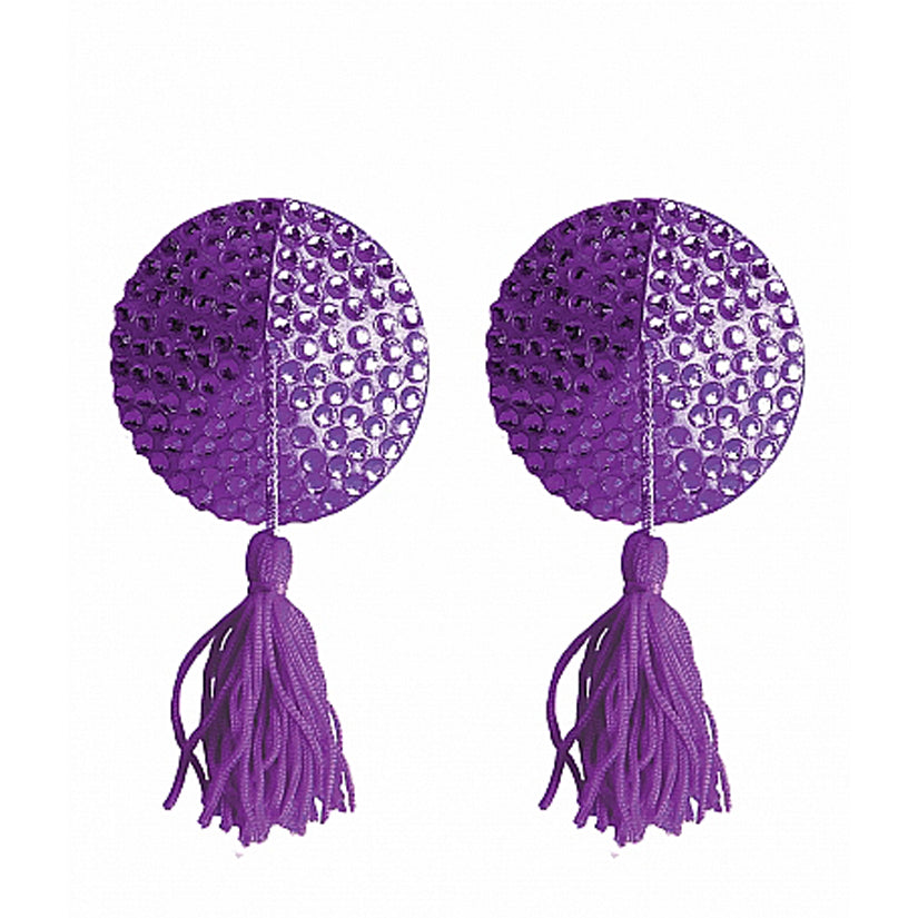 Ouch! Nipple Tassels Round-Purple - Godfather Adult Sex and Pleasure Toys