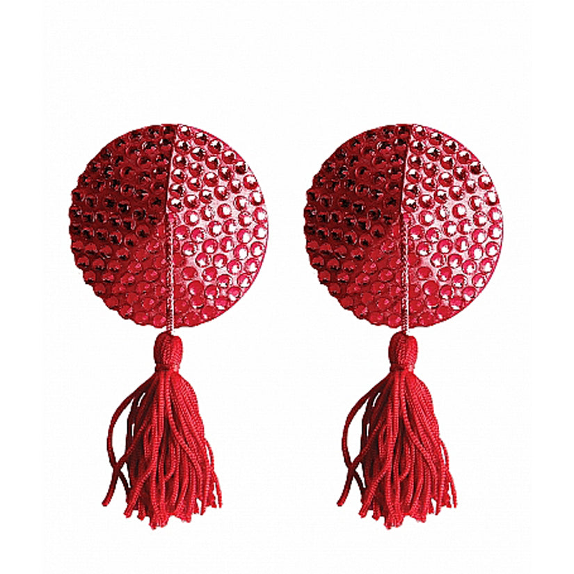 Ouch! Nipple Tassels Round-Red - Godfather Adult Sex and Pleasure Toys