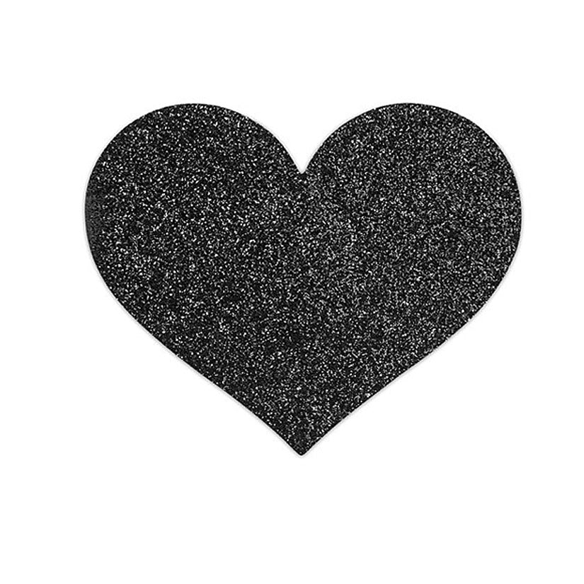Bijoux Flash Heart Glitter Pasties-Black - Godfather Adult Sex and Pleasure Toys