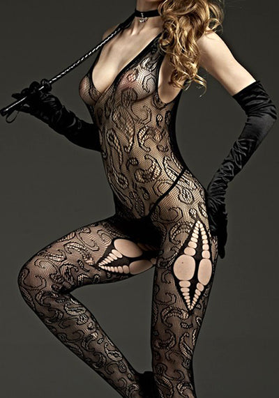 Crotchless Wide Stap Bodystocking - Godfather Adult Sex and Pleasure Toys