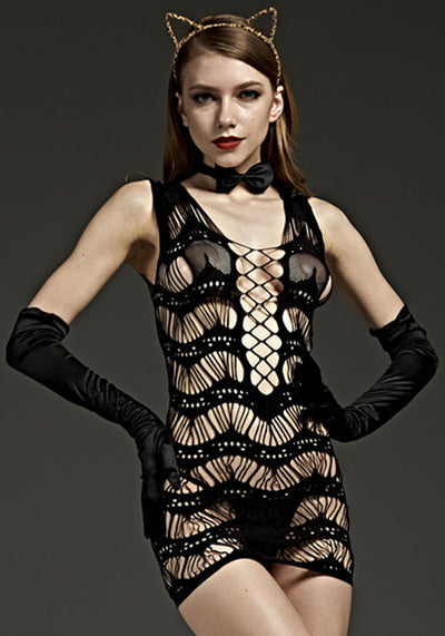 Detailed Bodystocking Dress - Godfather Adult Sex and Pleasure Toys