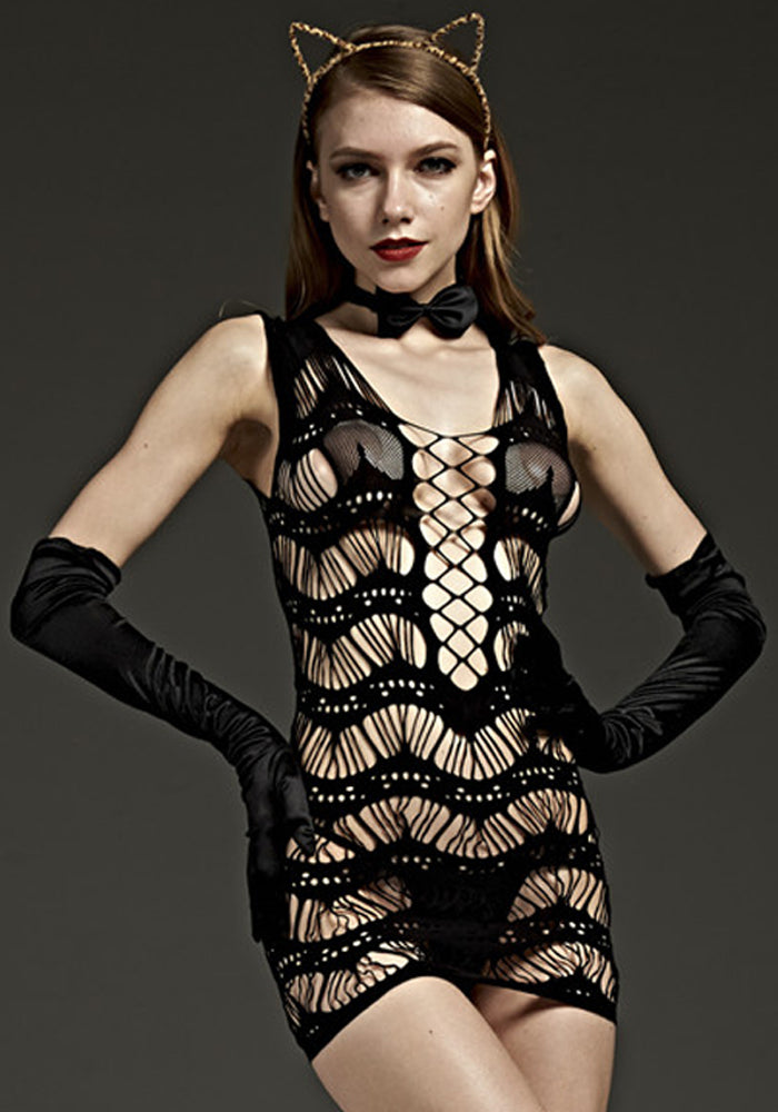 Detailed Bodystocking Dress