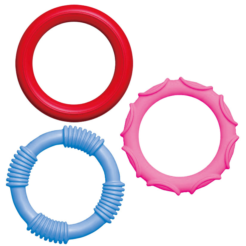A GO! GO! Silicone Ring Set of 3 - Godfather Adult Sex and Pleasure Toys