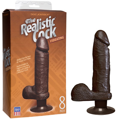 "The Realistic Cock Vibrating 8"" - Black - Godfather Adult Sex and Pleasure Toys"
