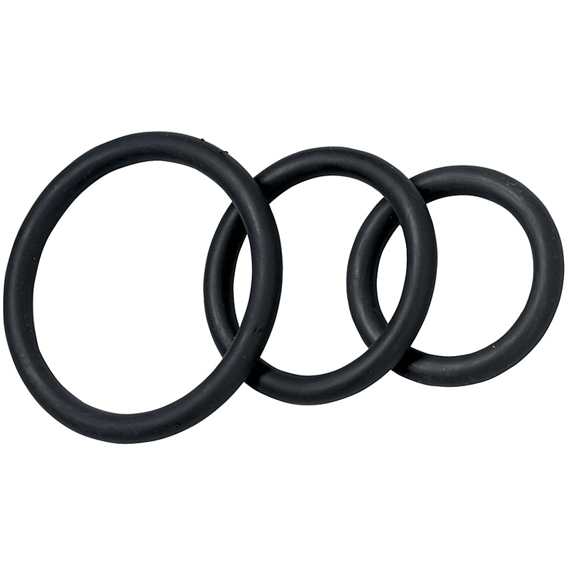 Spartacus Cock Ring Rubber-Black (3 Pack) - Godfather Adult Sex and Pleasure Toys