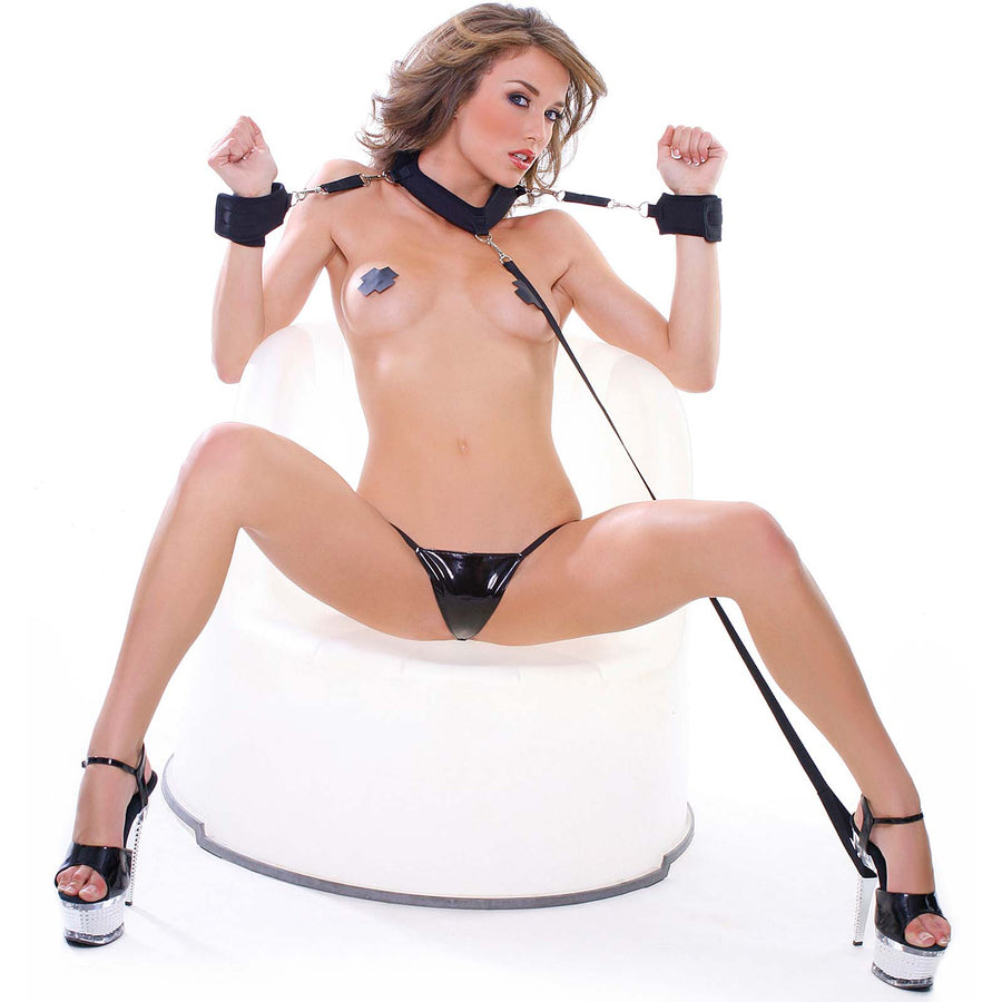 Fetish Fantasy Series Collar with Cuffs and Leash - Godfather Adult Sex and Pleasure Toys