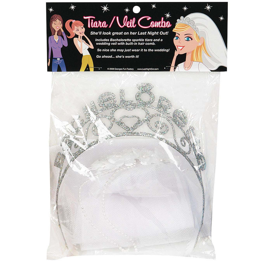Bachelorette Sparkle Tiara with Veil - Godfather Adult Sex and Pleasure Toys