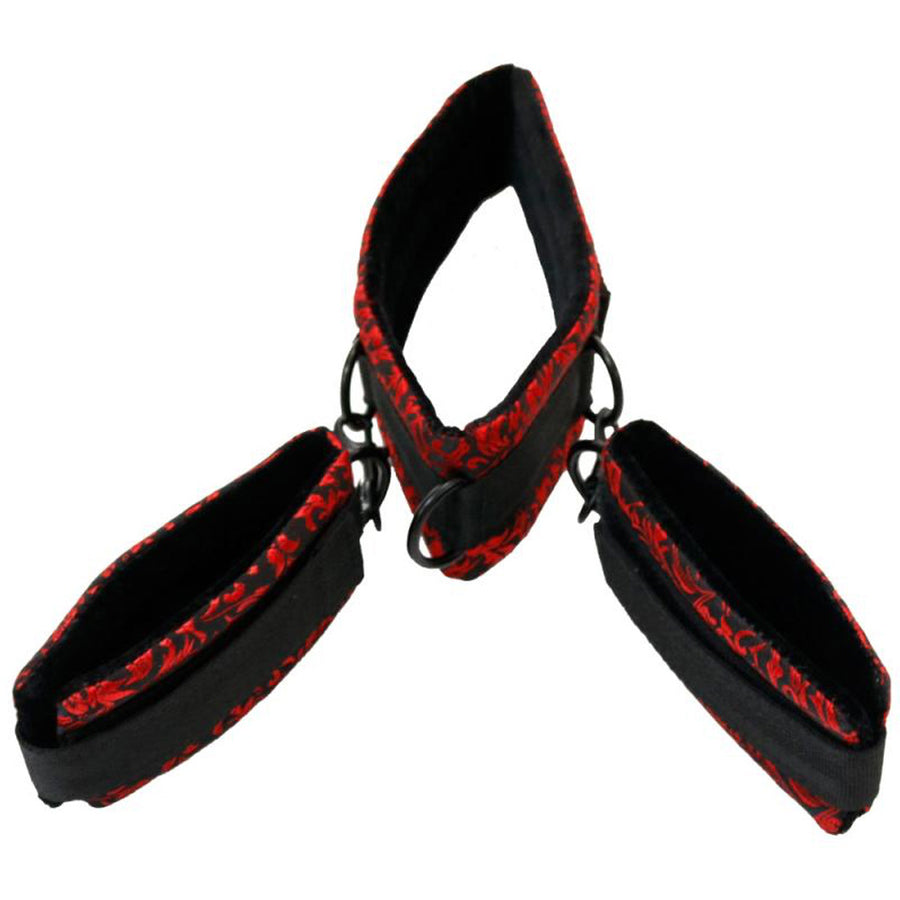 Collar & Wrist Restraints Set - Black/Red
