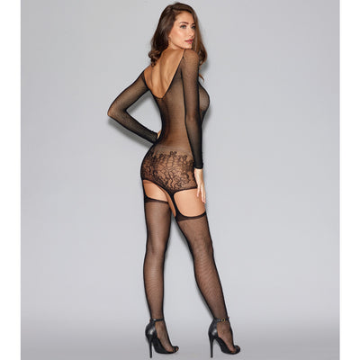 Fishnet Garter Dress with Lace Hem-Black
