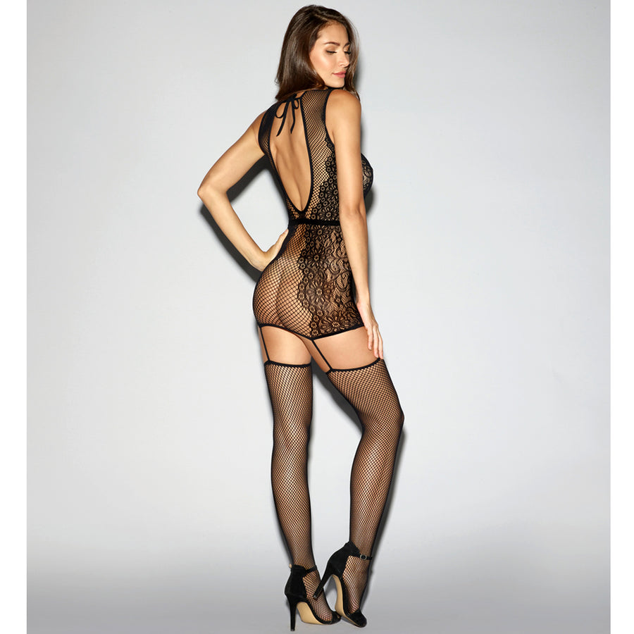 Fishnet Keyhole & Lace Bodystocking - Black