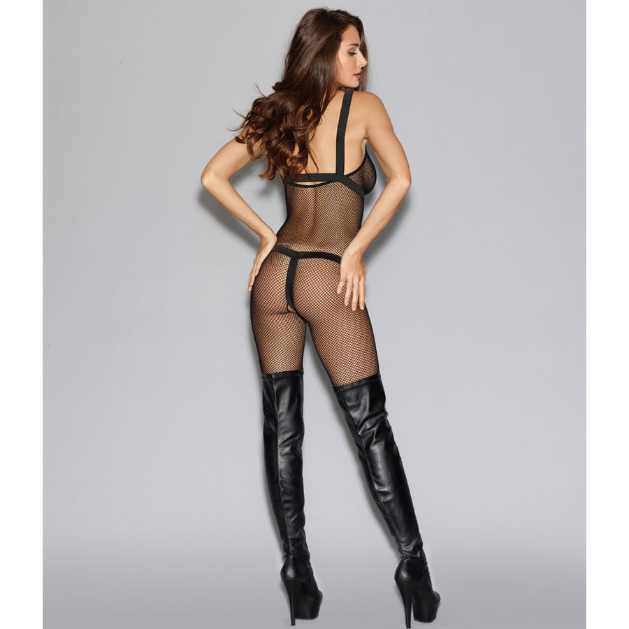Fishnet Harness Bodystocking - Black